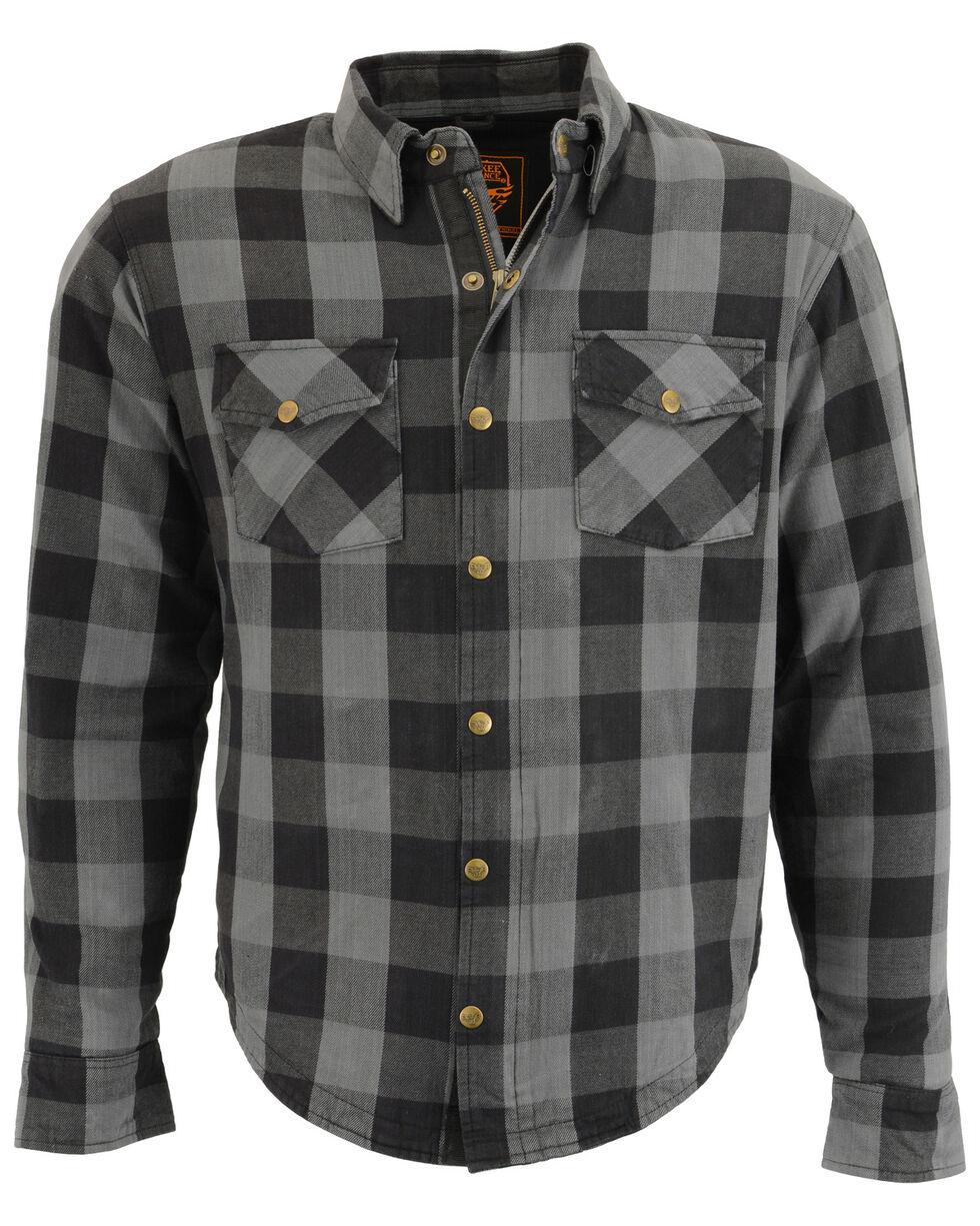 Milwaukee Performance Men's Aramid Checkered Plaid Biker Shirt - 5X, Dark Grey, hi-res