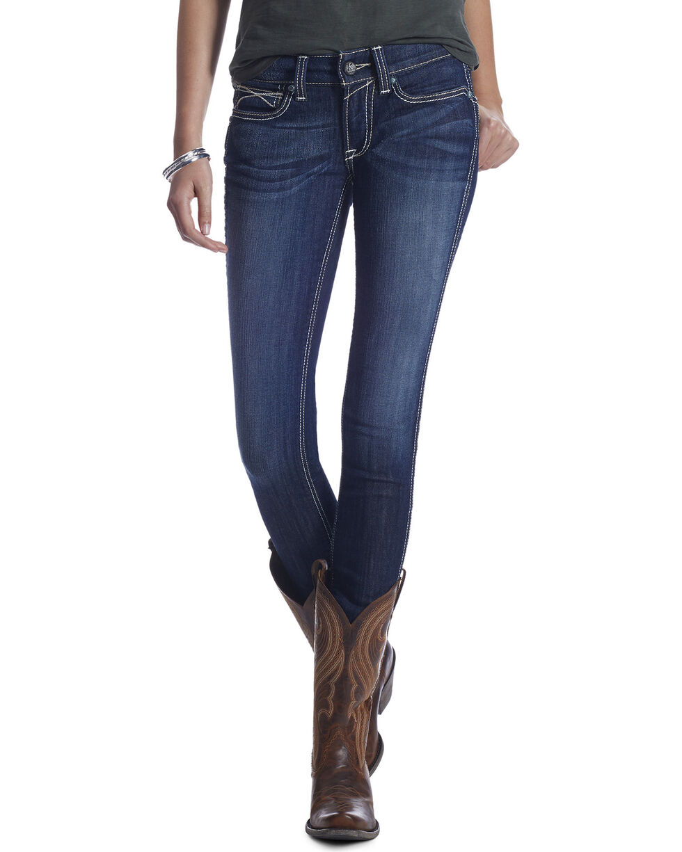 Ariat Real Women's Ella Mid Rise Skinny Jeans, Blue, hi-res