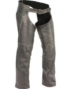 Milwaukee Leather Men's Grey Deep Thigh Vintage Chaps - Big 5X , Grey, hi-res