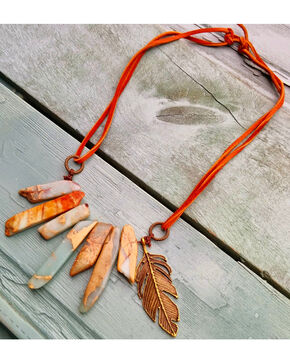 Jewelry Junkie Aqua Terra Leather Cord Necklace with Feather, Aqua, hi-res