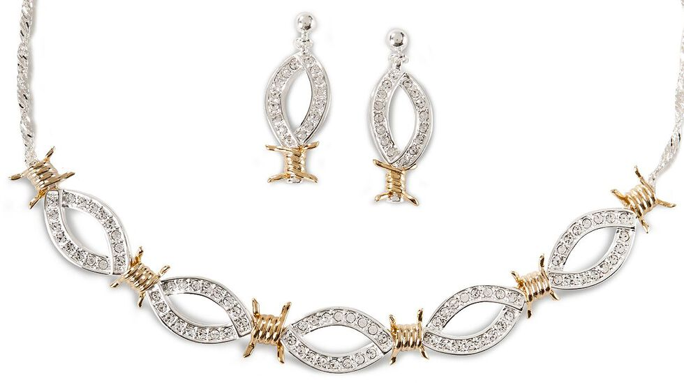 Montana Silversmiths Barbed Wire & Rhinestones Necklace Set, Silver, hi-res