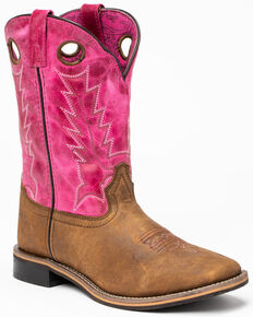 Shyanne Girls' Pink Top Western Boots - Square Toe, Brown/pink, hi-res