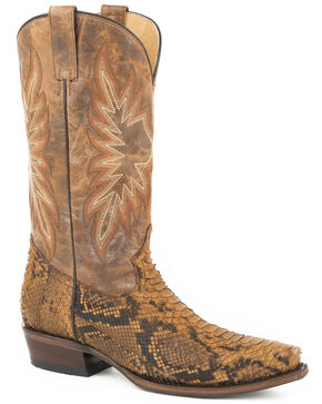 Stetson Men's Brown Snake Eyes Python Skin Boots - Snip Toe , Brown, hi-res