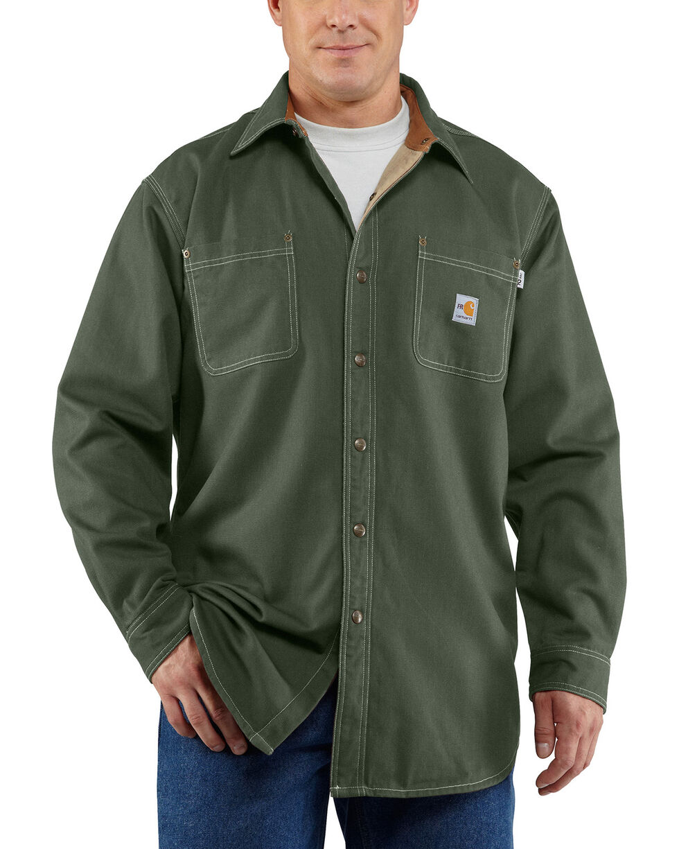 Carhartt Moss Green Flame Resistant Canvas Shirt Jacket, Moss, hi-res