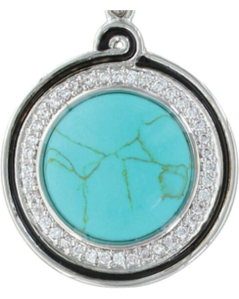 Montana Silversmiths Women's Classic Turquoise Medallion Earrings , Silver, hi-res