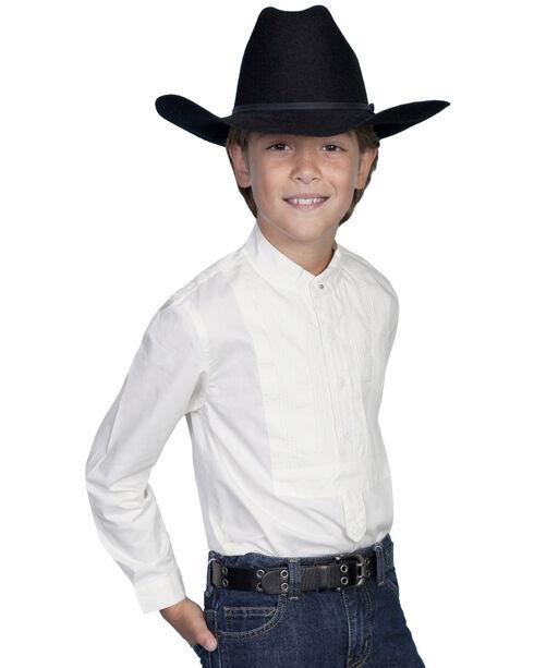 Scully Boys' Tuxedo Front Shirt, White, hi-res