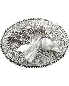 Nocona 3D Horse Head Buckle, Silver, hi-res