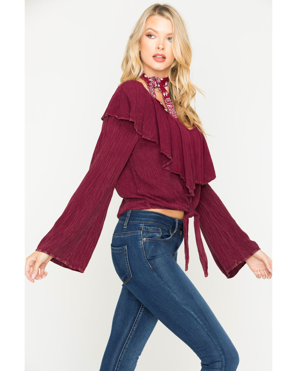 Vintage Havana Women's Burgundy Mortitia Bell Sleeve Top , Burgundy, hi-res
