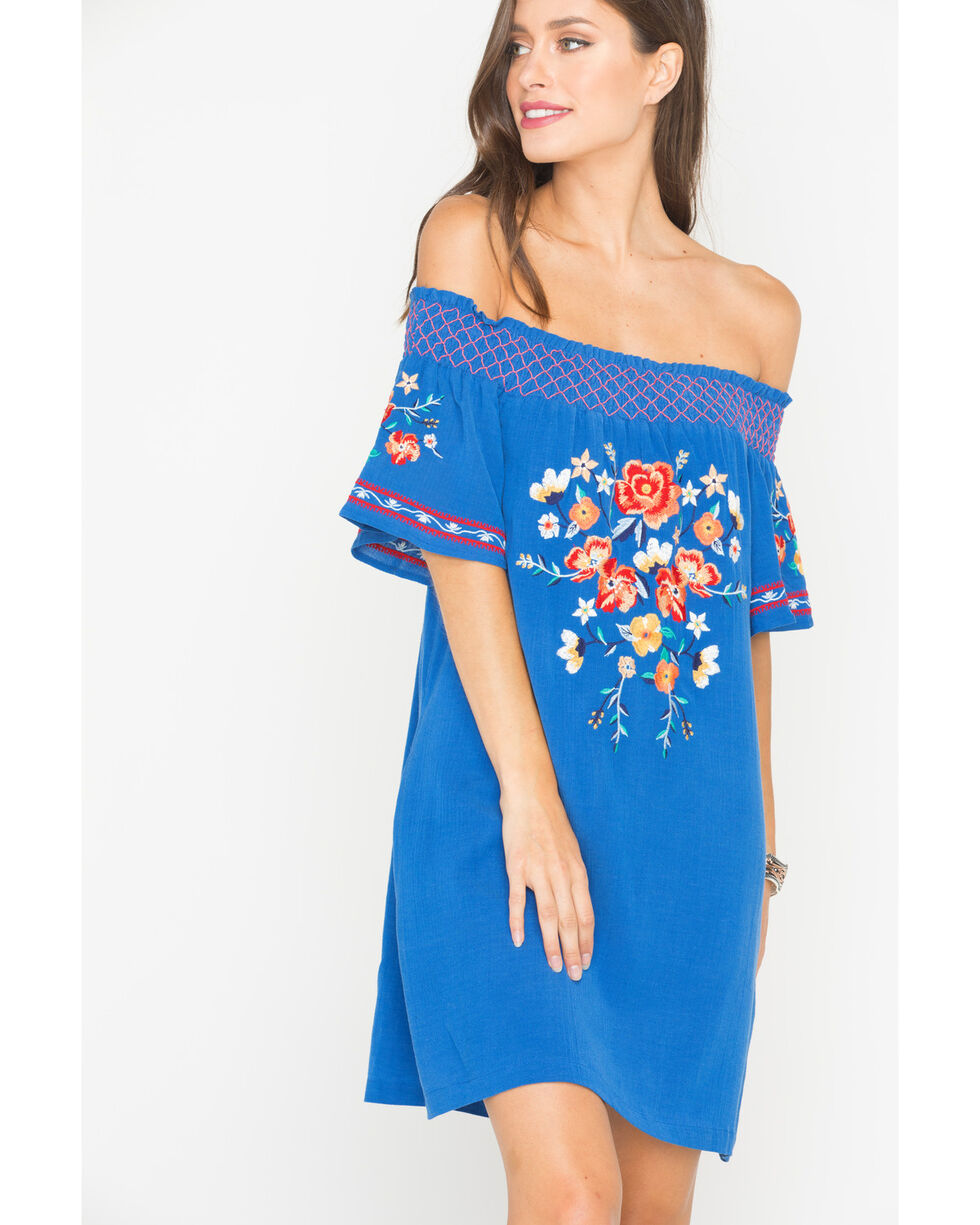 Miss Me Women's Floral Embroidered Off The Shoulder Dress, Blue, hi-res
