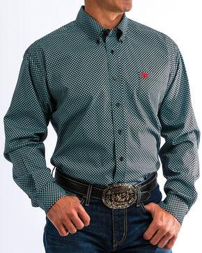 Cinch Men's Match Dad Black & Blue Print Western Shirt, Black, hi-res