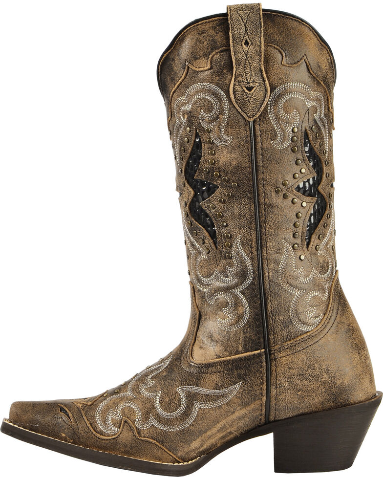 Laredo Women's Lucretia Studded Snake Inlay Cowgirl Boots - Snip Toe, Brown, hi-res