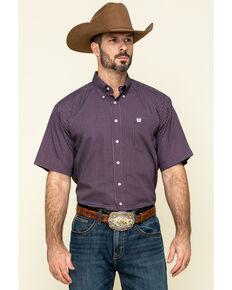 Cinch Men's Burgundy Small Geo Print Short Sleeve Western Shirt , Burgundy, hi-res