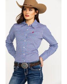 544db867 Ariat Womens Kirby Stretch Diamond Geo Print Long Sleeve Western Shirt,  Blue, hi-