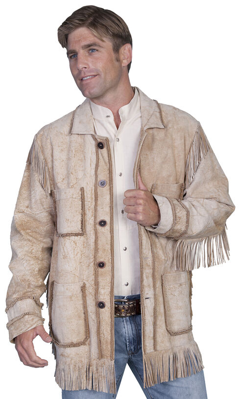 Scully Distressed Leather Fringe Coat, Tan, hi-res