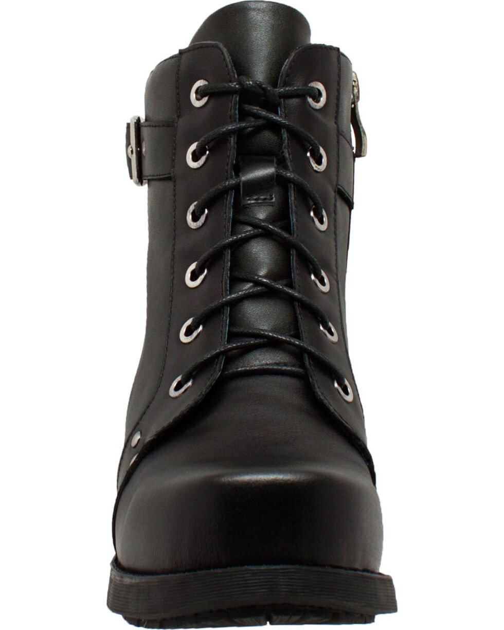 "Ad Tec Women's 7"" Black Leather Biker Boots  , Black, hi-res"