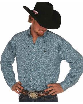 Cinch Men's Plain Weave Teal Box Print Long Sleeve Shirt, Teal, hi-res