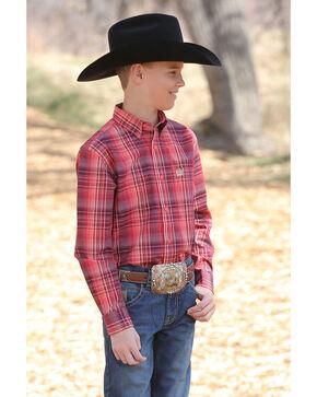 Cinch Boys' Coral Plaid Long Sleeve Western Shirt , Multi, hi-res