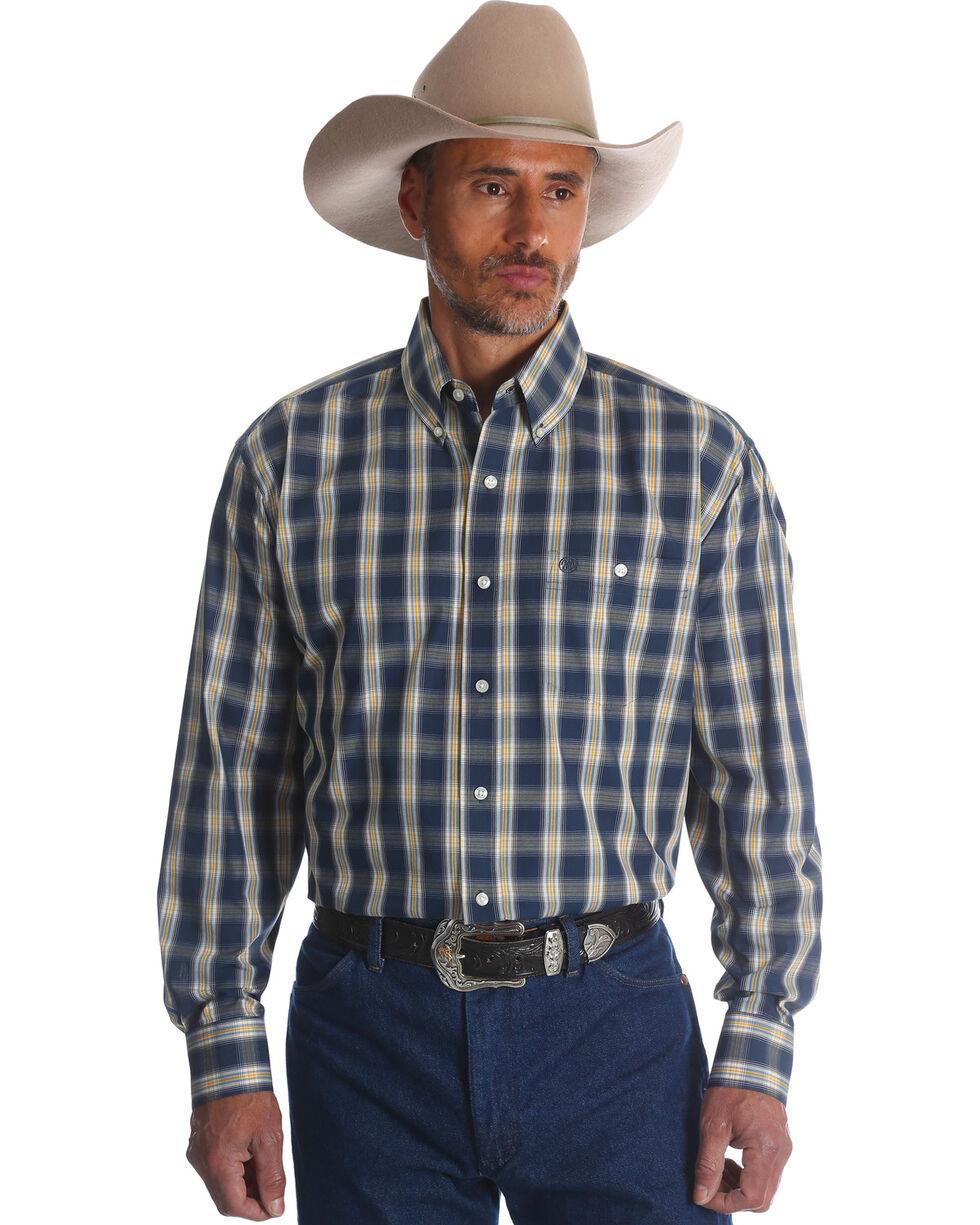 Wrangler Men's Navy/Yellow Plaid Long Sleeve Button Down Shirt, Navy, hi-res