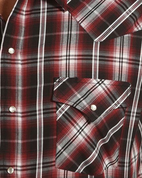 Ely Cattleman Men's Burgundy Textured Plaid Snap Shirt , Red, hi-res
