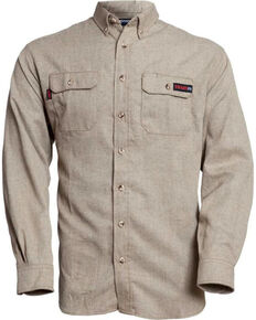 Tecgen Men's Tan Select FR Long Sleeve Work Shirt , Tan, hi-res