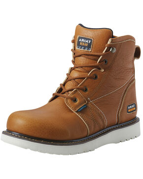 Ariat Men's Rebar Wedge Waterproof Work Boots - Soft Toe, Tan, hi-res