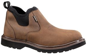 "Carhartt 4"" Brown Weatherproof Romeo Work Shoes, Dark Brown, hi-res"