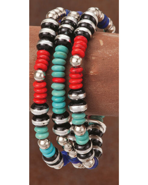 West & Co. Women's Multi-Colored Beaded Bracelet, Silver, hi-res