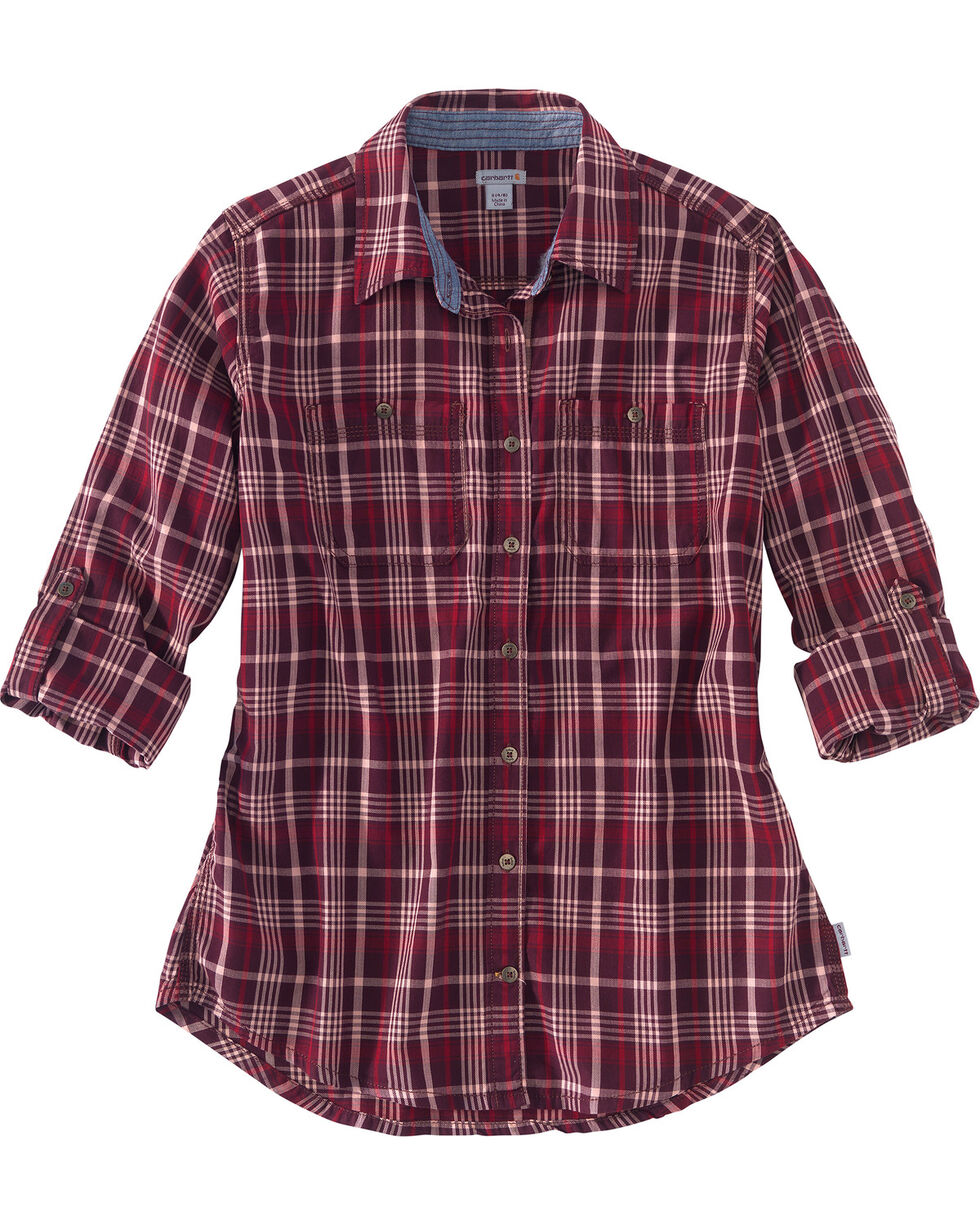Carhartt Women's Wine Dodson Plaid Shirt , Wine, hi-res
