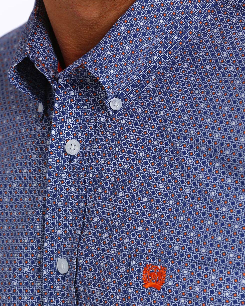 Cinch Men's Navy Print Long Sleeve Button Down Shirt, Navy, hi-res