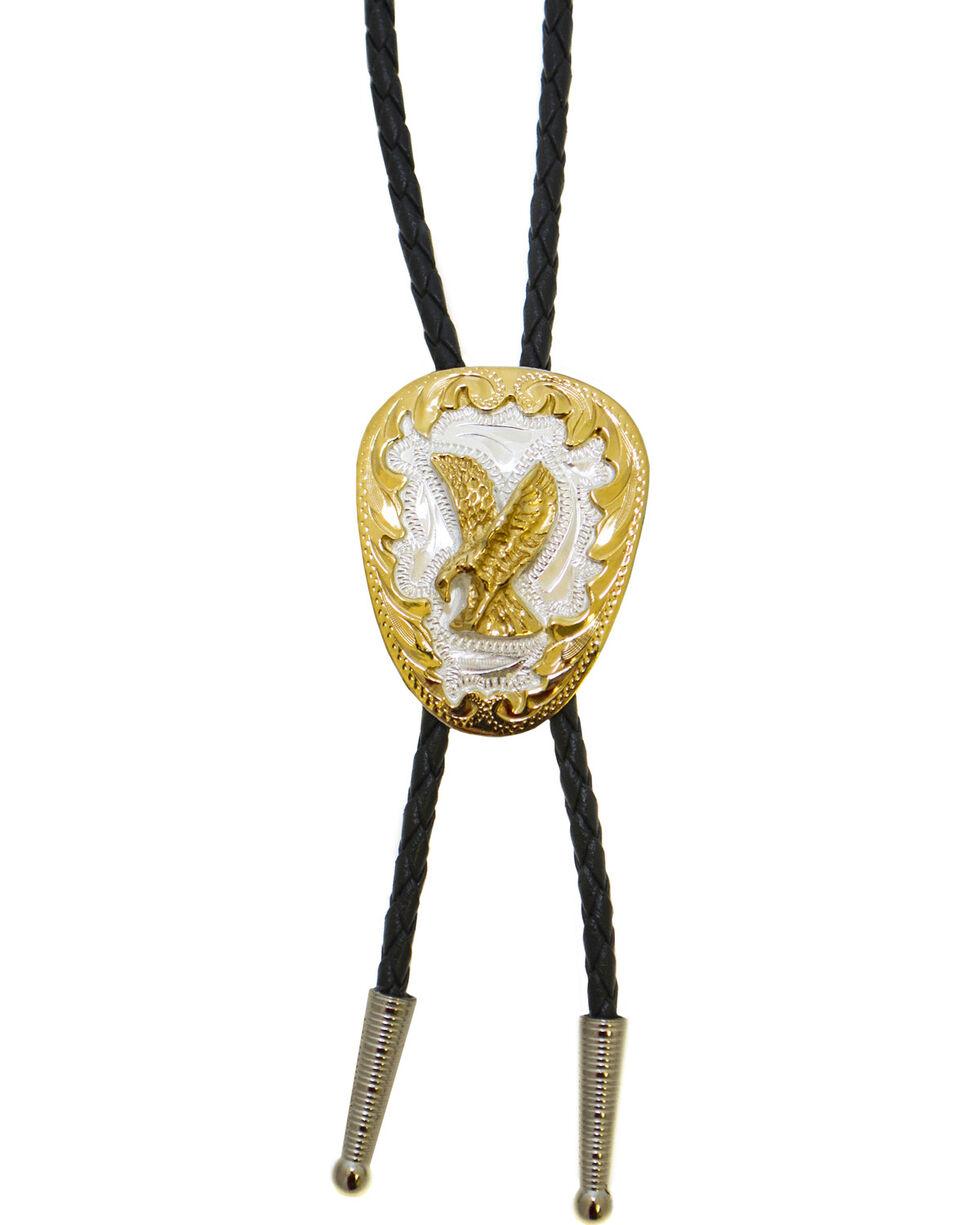 Western Express Men's German Silver Eagle Bolo Tie, Gold, hi-res