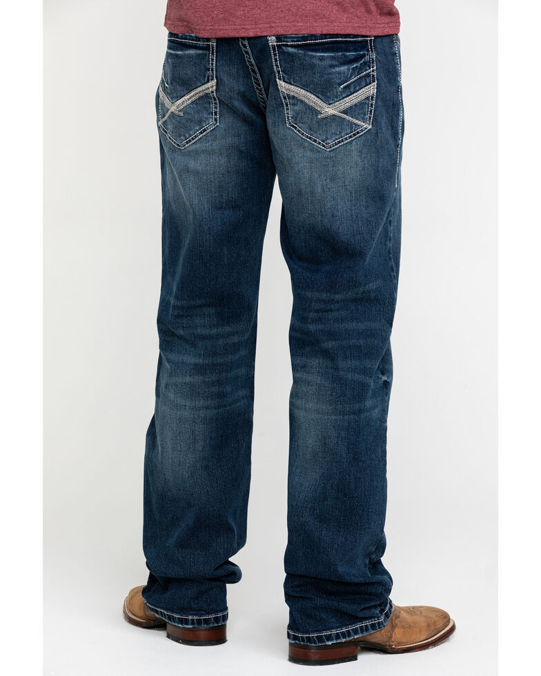 Rock & Roll Cowboy Men's Reflex Double Barrel Dark Vintage Relaxed Straight Jeans , Blue, hi-res