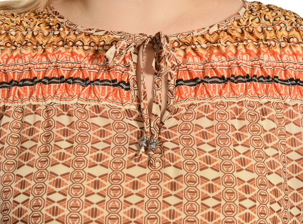 Red Ranch Orange Bohemian Print Tie Blouse - Plus  , , hi-res
