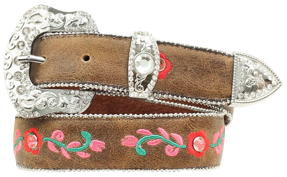Blazin Roxx Girls' Floral Embroidered Belt - 18-28, Brown, hi-res