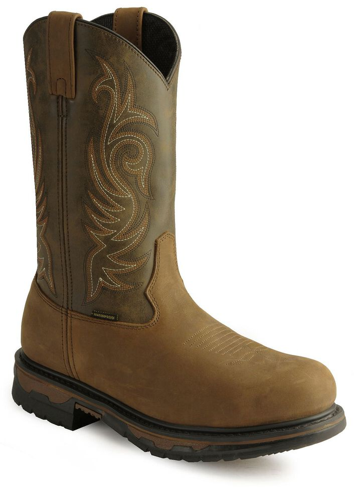 Laredo Waterproof H2O Western Work Boots - Steel Toe, Tan Distressed, hi-res