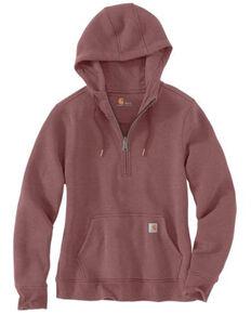 Carhartt Women's Wine Clarksburg Half Zip Hooded Sweatshirt, Heather Purple, hi-res