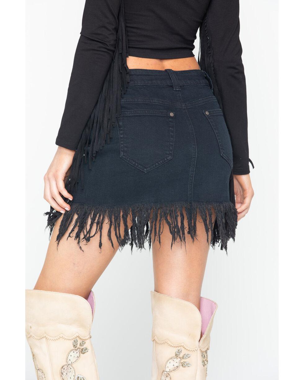 Shyanne Women's Black Fringe Trimmed Jean Skirt, Black, hi-res