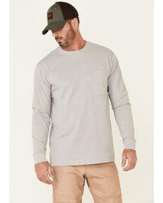Hawx Men's Solid Light Grey Forge Long Sleeve Work Pocket T-Shirt , Light Grey, hi-res