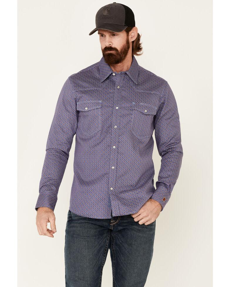 Rock & Roll Denim Men's FR Blue Geo Print Long Sleeve Work Shirt - Big , Blue, hi-res