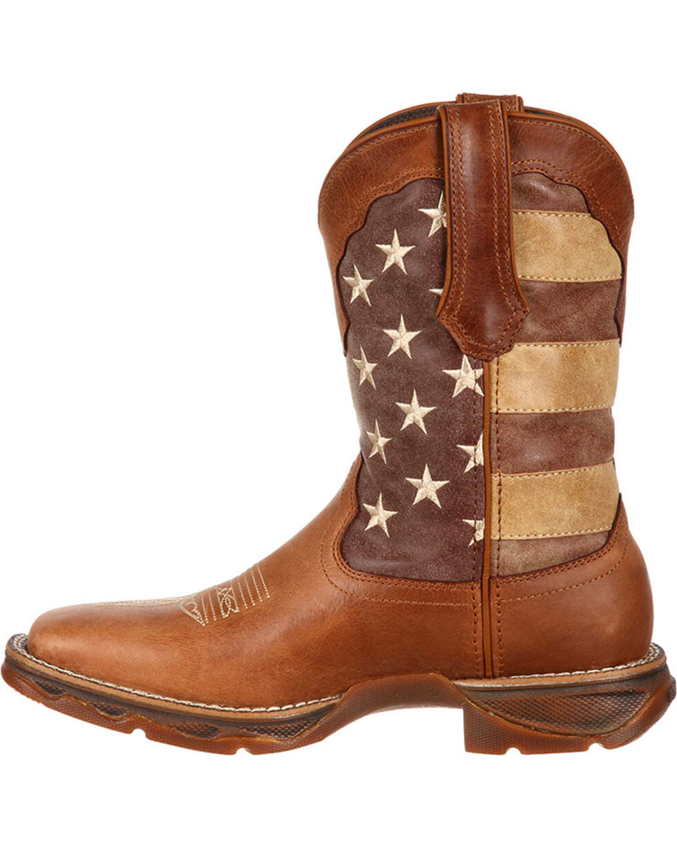 Lady Rebel by Durango Women's Faded Union Flag Western Boots - Square Toe , Brown, hi-res