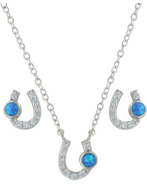 Montana Silversmiths Women's Silver Lightfoot Horseshoe Jewelry Set , Silver, hi-res