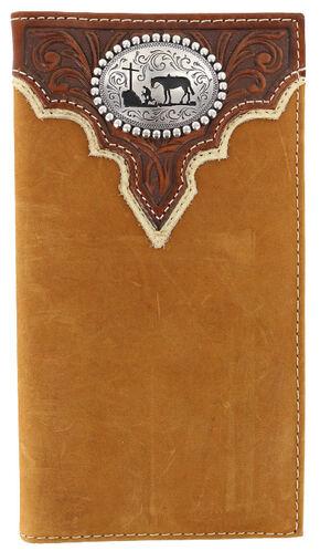 Cody James Men's Leather Praying Cowboy Rodeo Wallet, Brown, hi-res