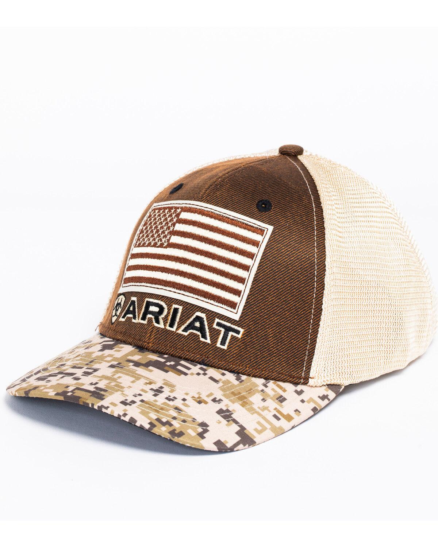 newest 5b11d 4e73f get ariat mens shield logo patch trucker cap 31eda d6653  order ariat mens  digital camo patriotic baseball cap hi res 0cdd8 c222b