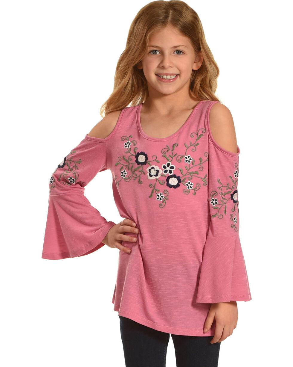 Speechless Girls' Cold Shoulder Embroidered Top , Pink, hi-res