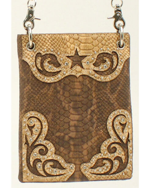 Blazin Roxx Snakeskin Star Messenger Bag, Brown, hi-res