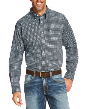 Ariat Men's Navy Ventana Diamond Print Western  Shirt , Navy, hi-res