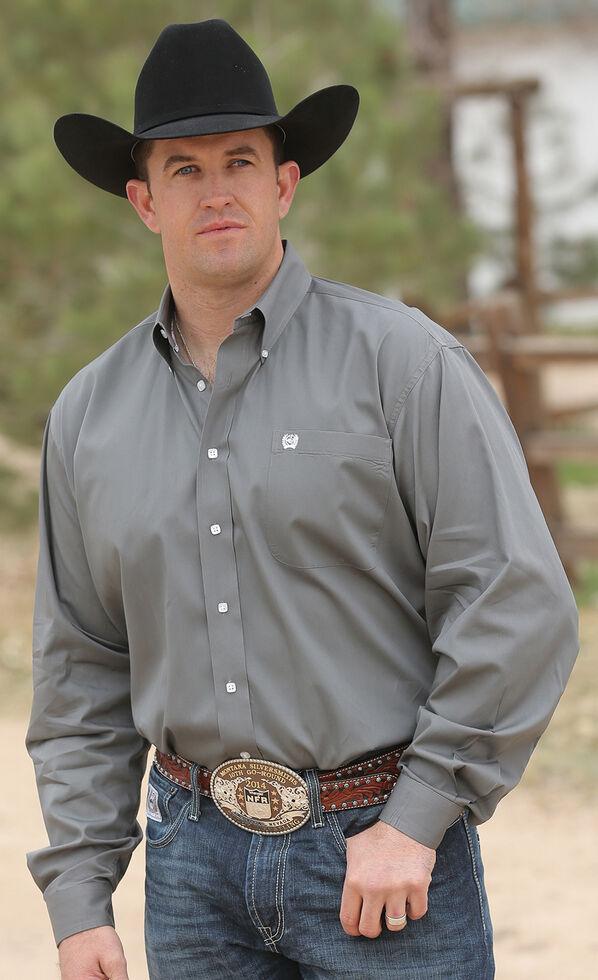 Cinch Men's Solid Gray Button Long Sleeve Shirt - XXXL, Grey, hi-res