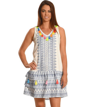 Young Essence Women's Drop Waist Dress with Tassels, White, hi-res