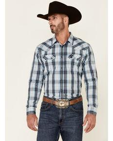 Moonshine Spirit Men's Blue Agave Plaid Long Sleeve Snap Western Shirt , Blue, hi-res