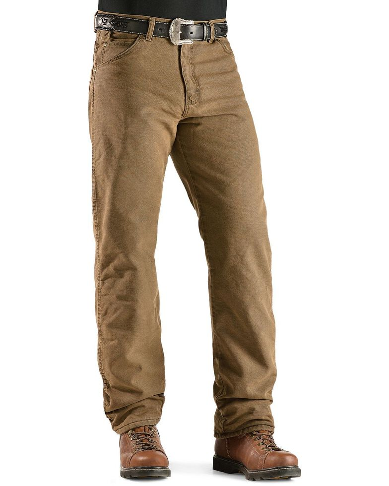 Wrangler Jeans - Rugged Wear Relaxed Fit Flannel Lined, Brown, hi-res