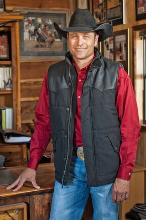 STS Ranchwear Men's Lucas Down Style Black Vest - Big & Tall - 2XL-3XL, Black, hi-res